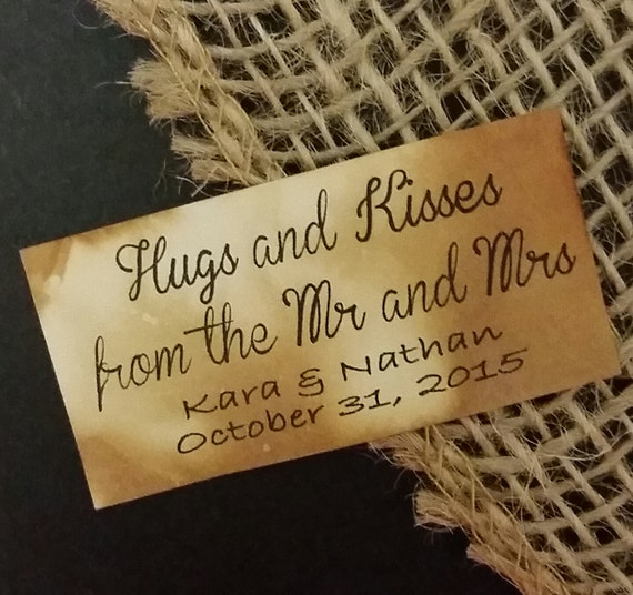 "Hugs and Kisses from the new Mr and Mrs Personalized Wedding Shower Favor 1.25"" x 2.25"" STICKER choose your amount"