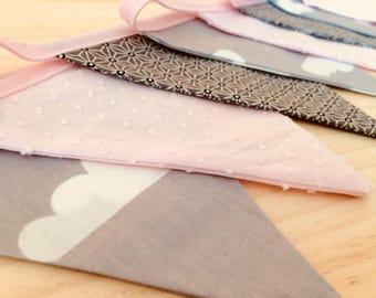 Garland pennants grey and pink