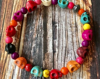 Skull Bracelet Multi Colored Stretchy Howlite Beaded, Sugar Skull, Day of the Dead, Howlite Round Beads