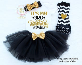 It's My 3rd Birthday, Third Birthday Outfit Girl, 3rd Birthday Outfit Girl,, Three Birthday Outfit, 3 Birthday Shirt, Birthday Outfit BT9