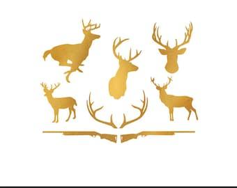 deer hunt gold foil clip art svg dxf file instant download silhouette cameo cricut digital scrapbooking