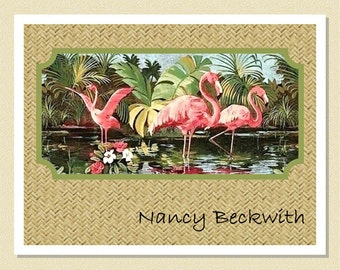 Flamingos Are Pretty In Pink - Personalized Note Cards (10 Folded)