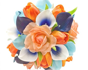 Stemple's Gatherings- Mixed Blue Calla Lilies, Light Orange Roses & Orange Field Tulips -In a vase or a bouquet