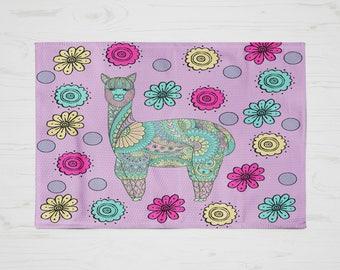 Purple Llama  Rug, Area Rug , Floral Funky