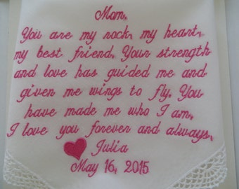 Embroidered-Wedding Handkerchief Mother of the Bride Wedding Gift for Mom Personalized Wedding -Hankerchief -Hankies -Hankie -Hanky Gift mom