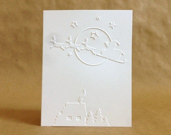 Boxed Christmas Cards - Unique Christmas Cards - Traditional Christmas Card Set - Embossed Merry Christmas Cards - Santa Card Set - Reindeer
