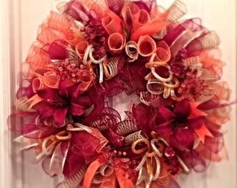 Elegant Orange, Burgundy and Burlap Lily Deco Mesh Wreath/Orange and Burgundy Lily Wreath/Fall Wreath/Autumn Wreath/Thanksgiving Wreath