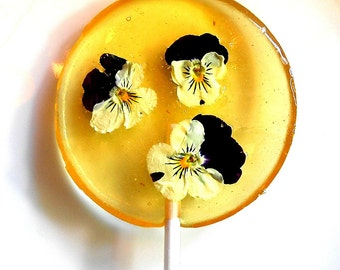 Gourmet Liquor Cordial Alcohol Choice, Bourbon, Purple,White. Yellow, Violas, Edible Giant Lollipops, Candied Fresh Flowers, Wedding Favors