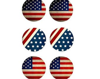 20mm, set of 6 US FLAG cabochons for earrings