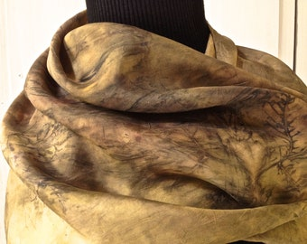 90 vegetable dye silk scarf, contact dyeing
