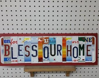 License Plate Sign License Plate letter Art Picture Home Bless Our Home License Plate Letter Sign family sign