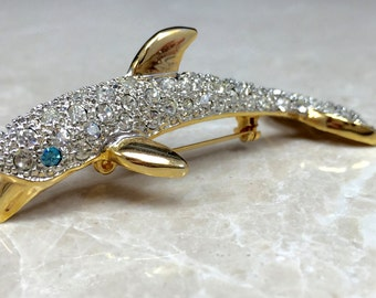 Dolphin Brooch, Dolphin Pin, Vintage Dolphin Pin, Vintage Dolphin, Rhinestone Dolphin, Dolphin Accessory, Dolphin Accent, Vintage 80s Brooch