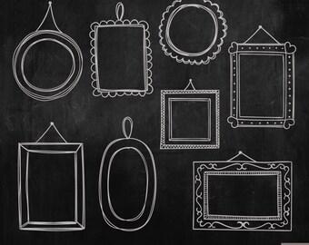 Hand Drawn Frames Digital Clipart, Chalkboard Frames Clipart