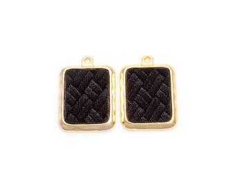2pcs - Black Velvet Square Pendant in Polish Gold Frame / velveteen pendant / Black velvet / 16k gold plated / 20mm x 29mm / BBLG363-P