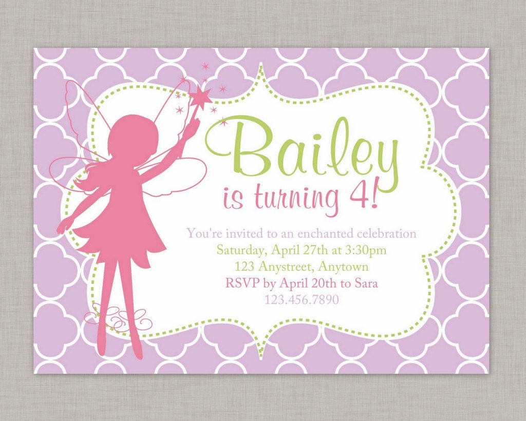 Fairy Invitation Fairy Birthday Invitation Fairy Party