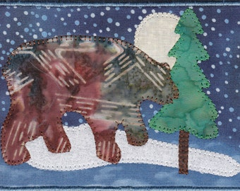 Brown Bear in the Moonlight Quilted Appliqued Fabric Postcard