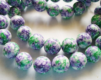 Synthetic Round Beads Green Purple White 10MM