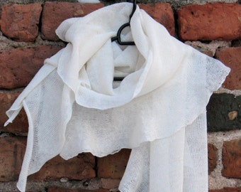 White Linen Scarf Shawl Wrap Stole Light