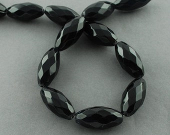 Black Glass Beads - Faceted Rice Shape - 30mm - Sold per strand - #BST1135