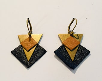 Brass and leather earring