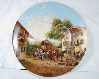 ARRIVAL of the STAGECOACH  Seltmamn Weiden German Porcelain Art plate coa! new! mib!