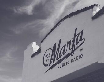 93.5 FM Marfa Public Radio Station West Texas Black and White Photo Print