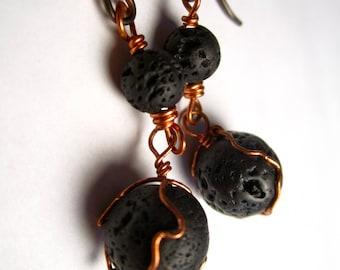 Essential Oil Lava Bead Diffuser Earrings, Copper/Silver