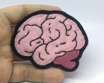 Hand Sewn and Embroidered Wool Felt Brain Pin