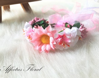 Pink Corsage, Wildflower Corsage, Wedding Corsage, Pink & Blush Corsage, Bridesmaid Wrist Corsage, Corsage with Ribbon, Prom Corsage