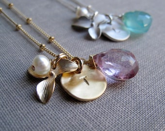 Orchid Initial necklace, Personalized bridesmaid necklace, Custom initial and birthstone charm jewelry