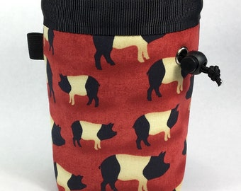 Chalk bag, Pigs, Climbing Chalk Bag, Chalk bag Climbing, Rock Climbing Chalk bag, Climbing Gear, Pig Chalk Bag, Farm, Red, Black and White