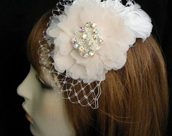 Champagne Ivory Feather Mini Veil- Floral Beaded Lace Rococo Style Fascinator - MiniBirdcage Wedding Veil- Lace Bridal Clip - LORNA