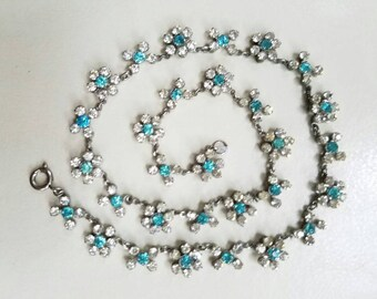 Floral Rhinestone Necklace Vintage