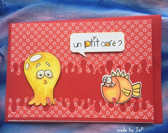 """card monster fish """"a lil coffee?"""""""