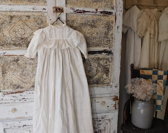 Antique White Baby Christening Gown with Slip, Christening Dress