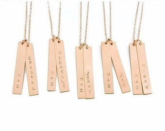 Personalized Bridesmaid Name Bar Necklace, Bridesmaid Necklace, Minimalist Necklace, Personalized Gift for Bridesmaid