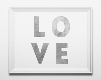 Love print gray Valentine art Modern wall decor Minimalist print Typography art poster Bedroom decor Digital print modern Instant download