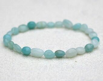 Amazonite Pebble Bracelet Semi-Precious Gemstone Polished Natural Stone Beads