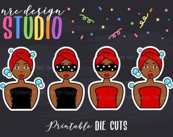 SALE Planner Die Cuts Printable, Girl Die Cuts, Spa Die Cut, African American Girl, Scrapbook Die Cuts, Planner Accessories - Office