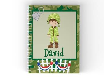 Military Personalized Notebook - Military Boy Girl Green Tan Camo with Name, Customized Spiral Notebook Back to School
