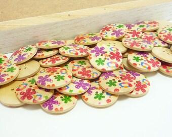Craft Wood Sewing Buttons Kids Flower Doodle (25mm 6pcs set)