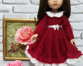 Handmade red dress (dress, belt, pantyhose, collar) (Paola Reina, 30-34cm)