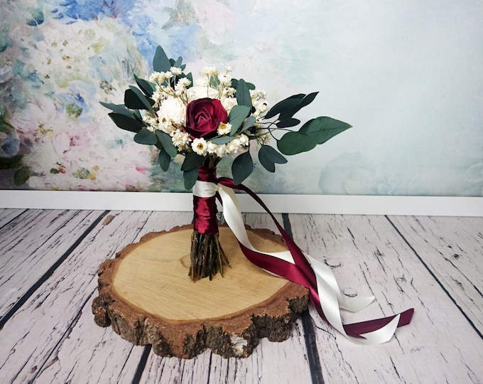 Small boho wedding bouquet dark burgundy wine ivory sola flowers preserved eucalyptus dried flowers vintage style long ribbons bridesmaid