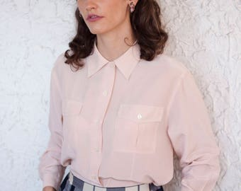 80's Pure Silk Shirt / Blouse / Elegant / Vintage button down shirt / Pale Millennial pink / Long sleeves / Smart / 80s clothing / 100% silk
