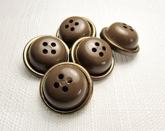 "Coffee with Cream: 15/16"" (24mm) Chunky Brown and Gold Buttons - Set of 5 Matching Vintage Buttons"