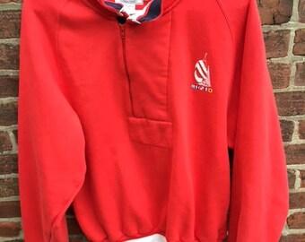 Nautica crew sweatshirt, button mock neck. Large