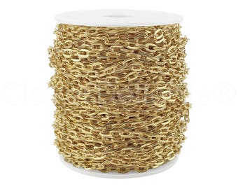 100 Ft - 5x7mm Champagne Gold Cable Chain Spool - For Necklaces, Jewelry, Dog Tags - 5mm x 7mm Oval Flat Links - Bulk Rolo Chain Roll
