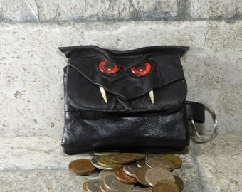 Zippered Coin Purse Black Leather Change Purse Monster Face Pouch Key Ring 253