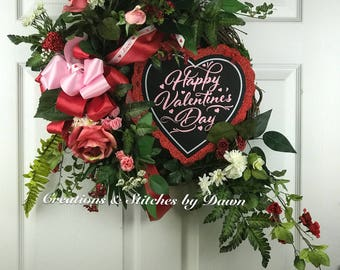 Grapevine Floral Valentine Wreath for front door or home decor