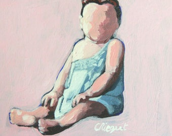 Original painting / acrylic on paper / figurative / portrait of child / contemporary / retro